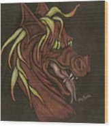 Red Fire Dragon Wood Print
