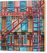 Red Fire Escape Wood Print