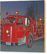 Red Firetruck Wood Print