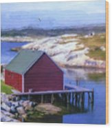 Red Fishing Shed On The Cove Wood Print