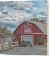 Red Flag Barn Wood Print