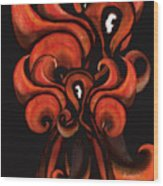 Red Flames Wood Print