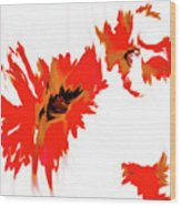 Red Floating Florals Wood Print