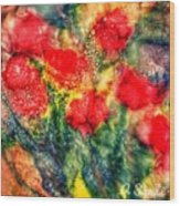 Red Floral Abstract Wood Print