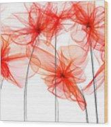 Red Floral - Red Modern Art II Wood Print
