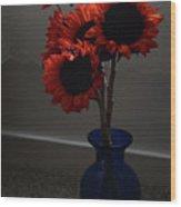 Red Flower Blue Vase Wood Print