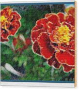 Red Flower In Autumn Wood Print