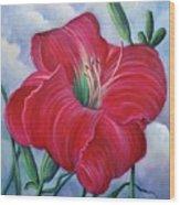 Red Flower Dreams Wood Print