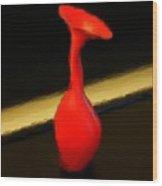 Red Flower Vase Wood Print