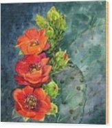 Red Flowering Prickly Pear Cactus Wood Print