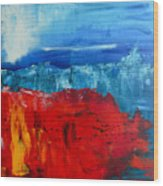 Red Flowers Blue Mountains - Abstract Landscape Wood Print