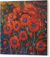 Red Flowers In The Night Wood Print