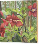 Red Flowers On The Deck Wood Print