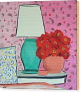 Red Flowers Pink Room Wood Print