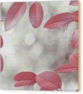 Red Foliage. Silver Light Wood Print