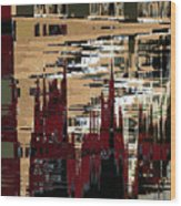 Red Forest Abstract Wood Print