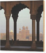 Red Fort From The Jama Masjid Wood Print