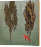 Red Fox Forest Wood Print