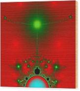 Red Fractal Wood Print