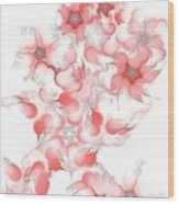 Red Fractal Floral Pattern Wood Print