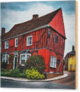 Red Frame House In Lavenham, England. Wood Print