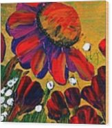 Red Garden Wood Print