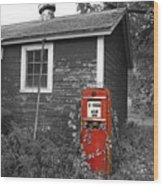 Red Gas Pump Wood Print