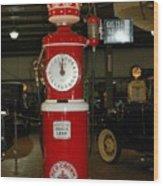 Red Gas Pump Wood Print