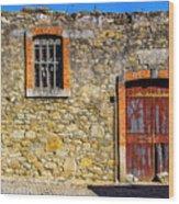 Red Gate, Stone Wall Wood Print