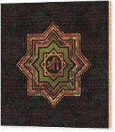 Red Gemstone And Gold  Star Of Lakshmi -  And Sri Wood Print
