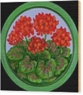 Red Geranium On Wood Wood Print
