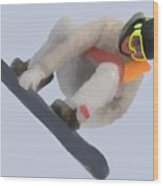 Red Gerard Snowboarding Gold Wood Print