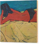 Red Girl - Yellow Bed - Imaginary Pool Wood Print