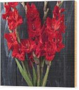 Red Gladiolus In Striped Vase Wood Print