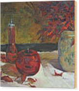 Red Glass And Nandina Leaves Wood Print