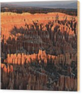 Red Glow Of The Sunrise In Bryce Canyon Wood Print