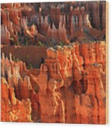 Red Glow On Hoodoos Of Bryce Canyon Wood Print