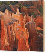 Red Glow On Thor's Hammer In Bryce Canyon Wood Print