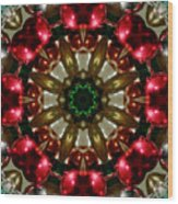 Red Gold Green Kaleidoscope 1 Wood Print