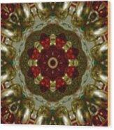 Red Gold Kaleidoscope 2 Wood Print