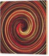 Have A Closer Look. Red-golden Spiral Art Wood Print