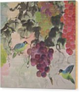 Red Grapes And Blue Birds Wood Print