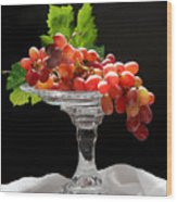 Red Grapes On Glass Dish Wood Print