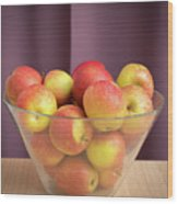 Red Green Apples In A Glass Bowl Wood Print