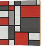 Red Grey Black Mondrian Inspired Wood Print