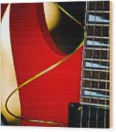 Red Guitar Wood Print by Hakon Soreide