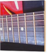 Red Guitar Neck Wood Print