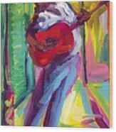 Red Guitar Wood Print