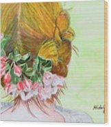 Red Hair And Apple Blossoms Wood Print