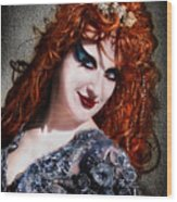 Red Hair, Gothic Mood. Model Sofia Metal Queen Wood Print
